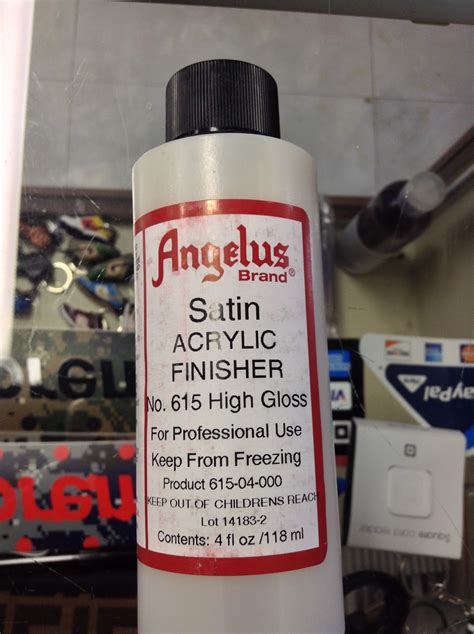 angelus brand acrylic leather paint high gloss finisher angelus acrylic finisher satin high gloss acrylic leather