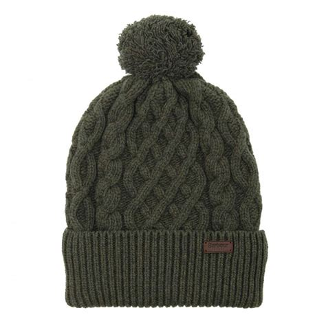 knit beanie mens barbour cable knit beanie olive mens accessories from