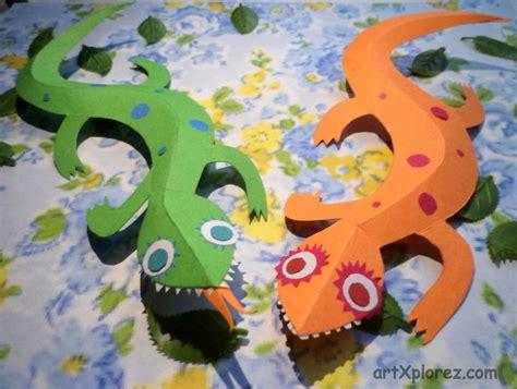 paper 3d crafts 3d lizard paper craft artxplorez