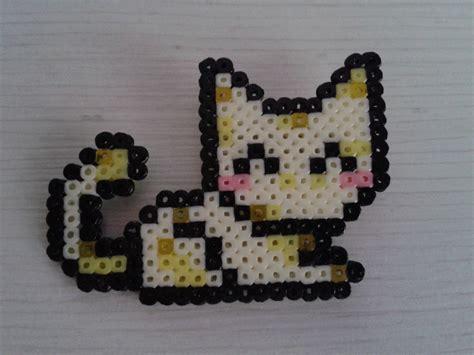 perler bead cat yellow cat with hama mini by ms self destruct on