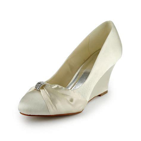 beaded wedding wedges s satin wedge heel wedges with rhinestone ivory