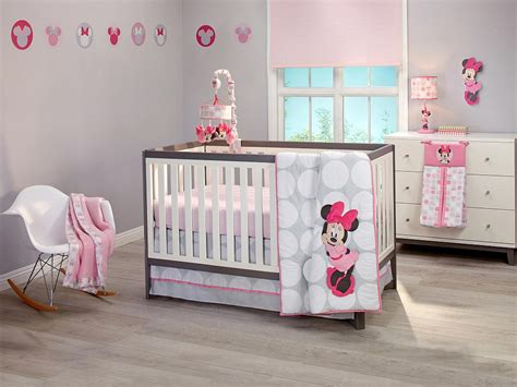minnie mouse bedding for cribs minnie mouse polkadots premier 4 crib bedding set