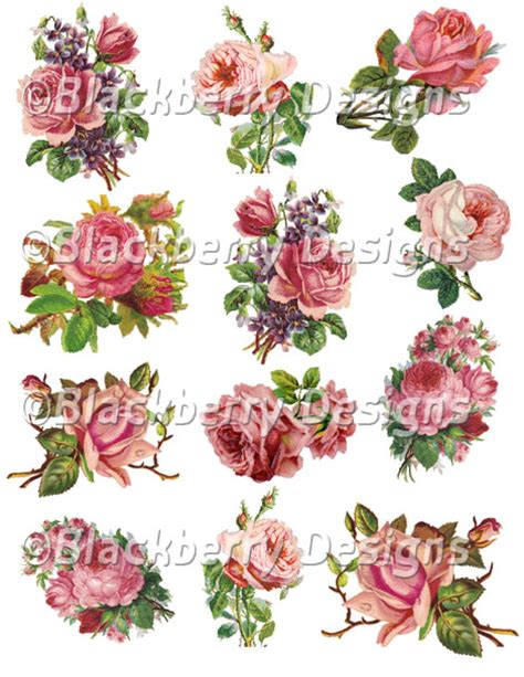 flower decoupage pink vintage roses decoupage paper collage sheet
