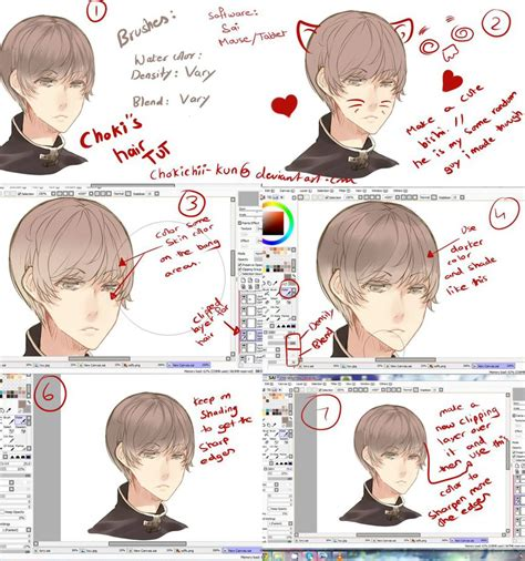 paint tool sai realistic hair tutorial anime hair tutorial by mano k on deviantart
