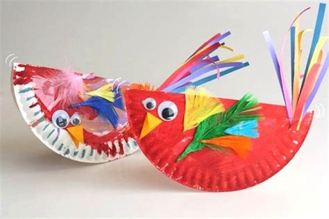 paper plate parrot craft play date idea rocking birdies