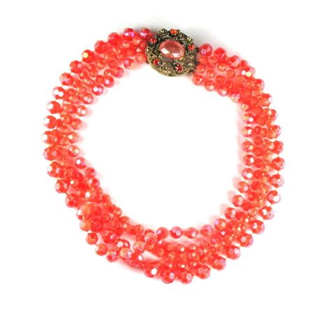 plastic bead necklaces selini orange plastic bead necklace