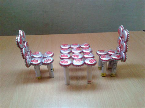 waste material craft projects make miniature table chairs from waste bottle caps