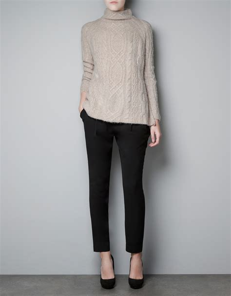 zara knit jumper zara cable knit sweater in lyst