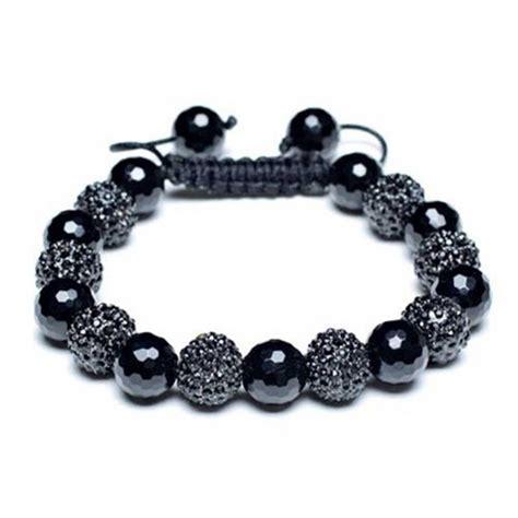 black bead shamballa inspired bracelet unisex black 10mm
