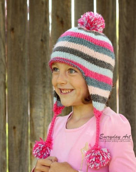 knit hat with ear flaps free patterns everyday children s knit ear flap hat pattern free