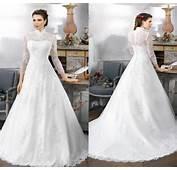 Vintage High Neck Winter Wedding Dresses 2016 A Line