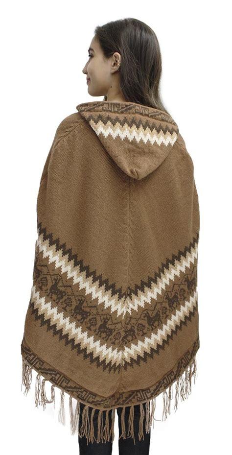 knitted hooded poncho s alpaca wool hooded poncho cape knit yarn coat