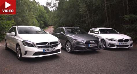Mercedes Vs Bmw Vs Audi by Mercedes A Class Vs Bmw 1 Series Vs Audi A3 In Battle Of