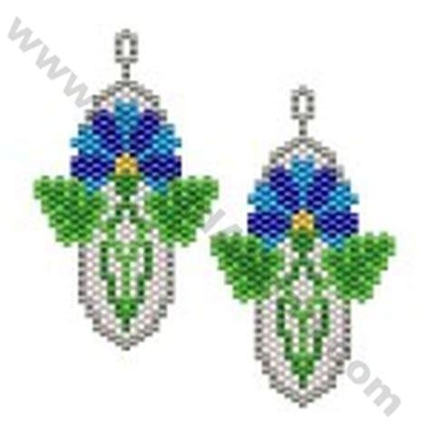 beaded flower earring patterns stylised flower earring bead pattern by threadabead