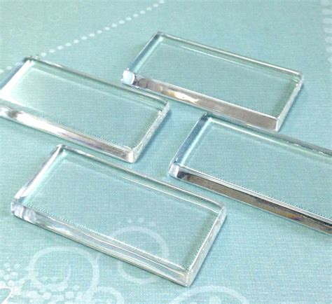 clear glass tiles for jewelry qty 10 clear glass rectangle tiles 24mm x 48mm pendant