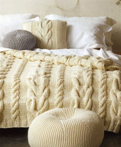 chunky knit bedspread cable cushion cover bedspread pouffe from the patons