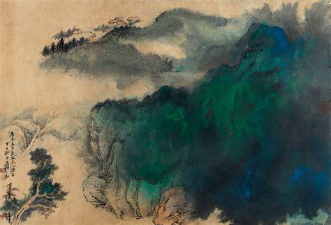 znag painting zhang daqian splashed color landscape 1977 china