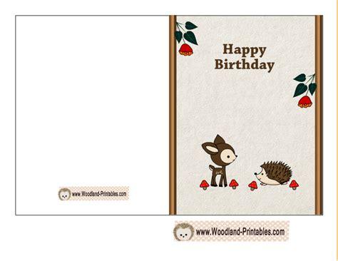 free card printables free printable woodland birthday cards