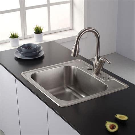single sinks for kitchens kraus 25 topmount single bowl 18 stainless steel