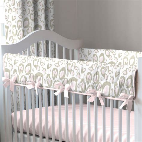 pink leopard crib bedding pink and taupe leopard crib rail cover carousel designs