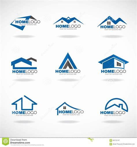 Home Design Logo blue and gray home logo set vector design stock vector