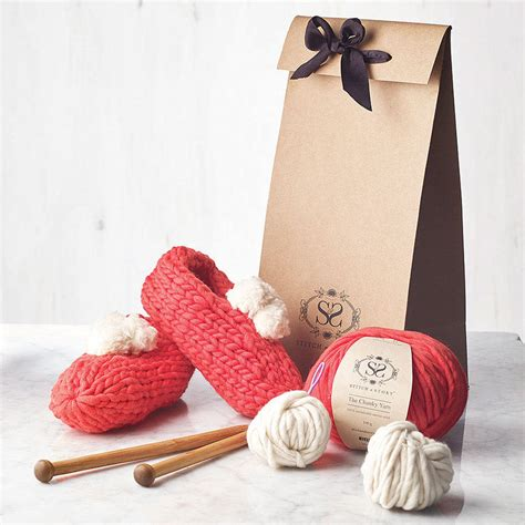 knitting kits for beginners beginners big bobble slippers knitting kit by stitch