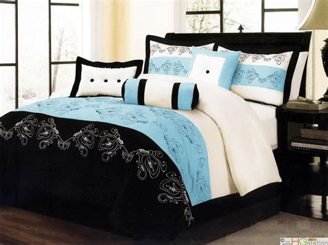 black white and blue comforter sets 7 pc paisley floral embroidery microfiber comforter set
