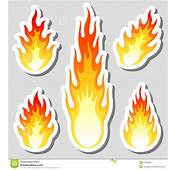 Fire Flame Stickers Set Stock Vector Image Of Energy