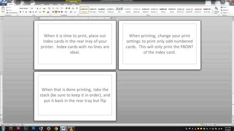 cards in word note index cards word template