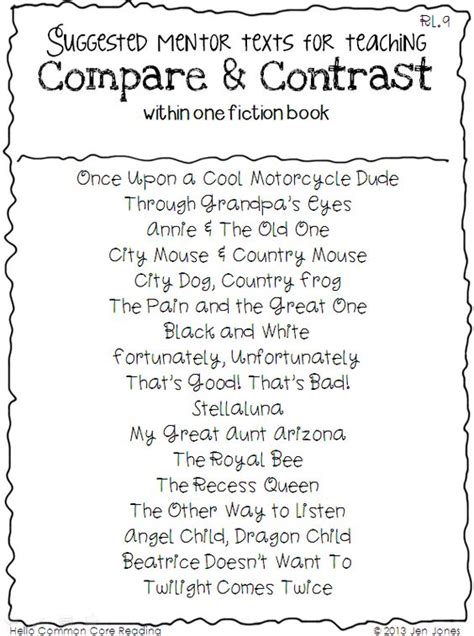 Readings For Compare And Contrast Compare And Contrast