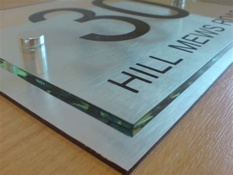 door number plaques glass house number sign plaque modern aluminium glass effect ebay
