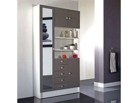 armoire de salle de bain 1 miroir 4 portes 5 tiroirs weni coloris blanc taupe vente de