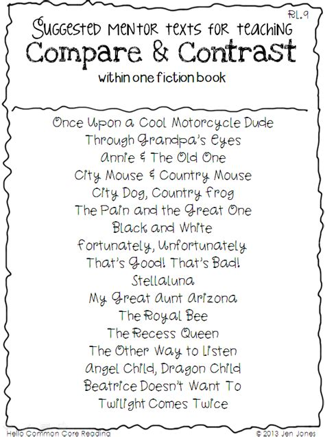 compare and contrast picture books comparing contrast essay