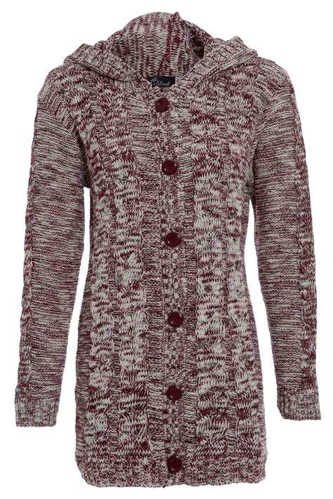 womens cable knit cardigan womens hoodies button up top sleeve marl