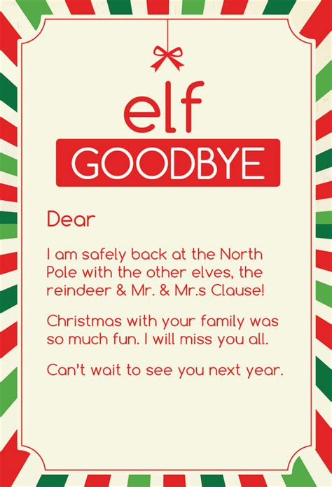 elf on the shelf goodbye letter template elf on the shelf letters letters and other great ideas