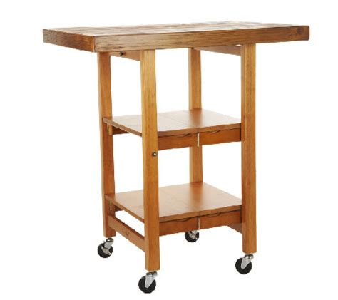 folding kitchen island cart folding island kitchen cart with brushed textured top qvc
