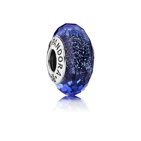 pandora glass bead charms iridescent blue faceted glass murano charm pandora uk