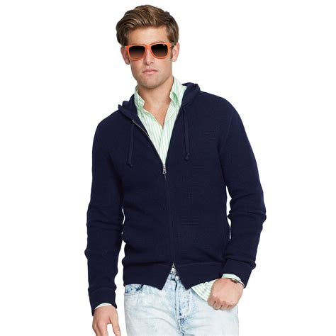ralph waffle knit hoodie polo ralph waffle knit hoodie in blue for