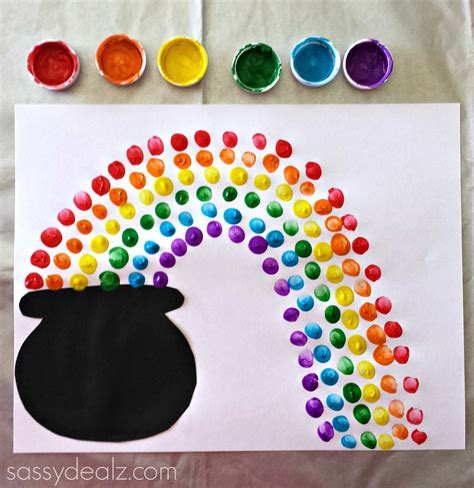 fingerprint rainbow pot of gold craft for st s