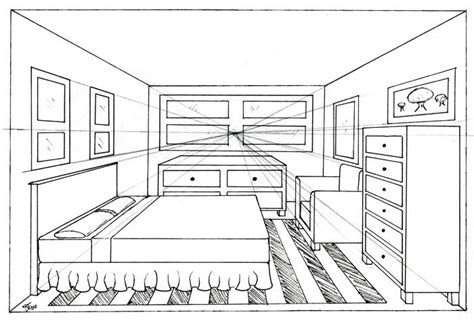 how to draw a bedroom one point perspective bedroom drawing cdxnd home