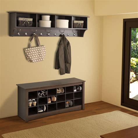 entryway shelves espresso 60 inch wide hanging entryway shelf