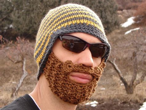 knitted beard yellow and gray striped bearded beanie
