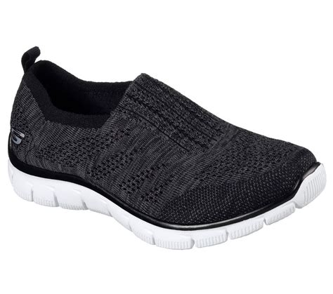 comfort knit 12419 bkw black skechers shoes memory foam sport