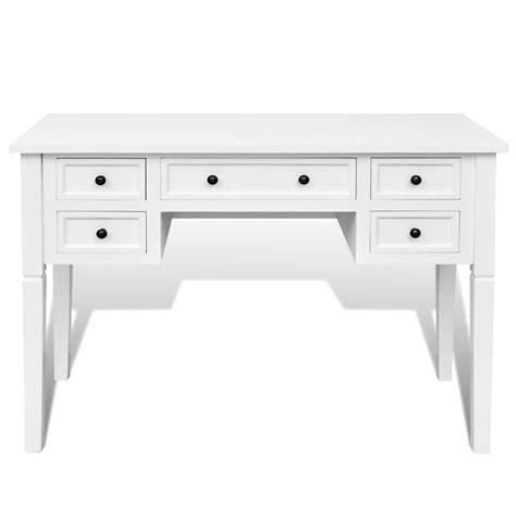 white writing desks vidaxl co uk white writing desk with 5 drawers