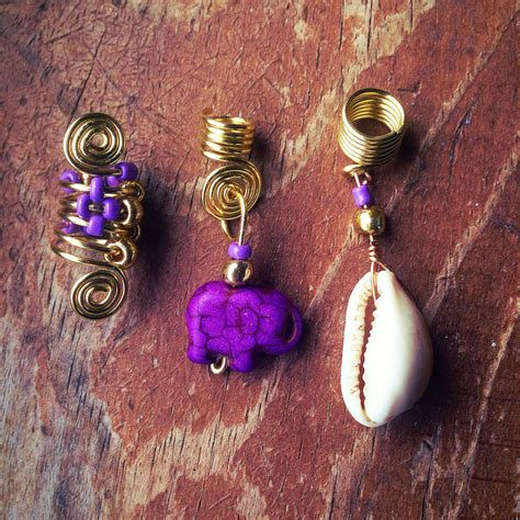 how to make dreadlock jewelry loc jewelry 3pc gold wire purple by asiliadesigns on etsy