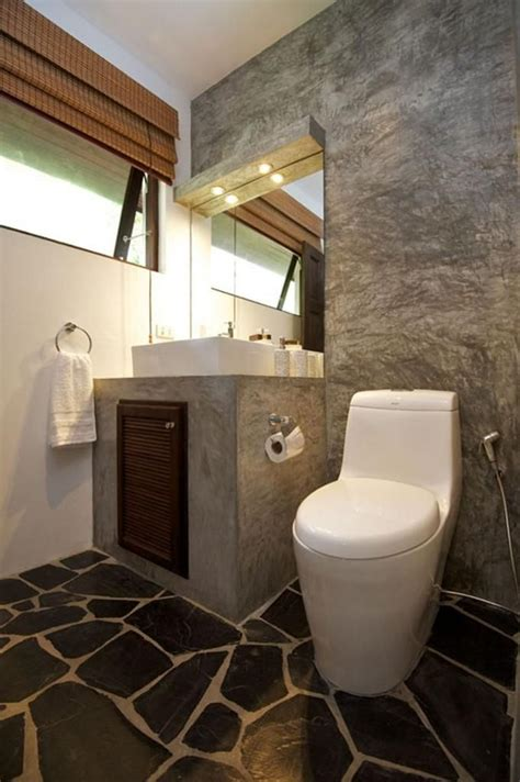 Design Toilet Modern by Minimalist Tropical Home Toilet Design Made From Natural