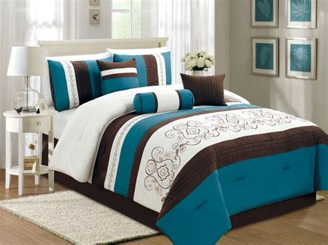 turquoise and brown comforter sets 7 pc embroidery floral comforter set bed in a bag