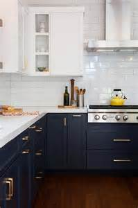 white and blue kitchen cabinets navy shaker kitchen cabinets with brushed brass pulls