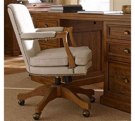 upholstered desk chairs swivel brock upholstered swivel desk chair pottery barn