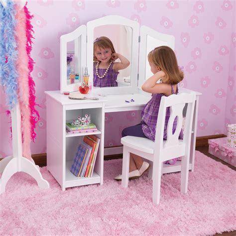 kid craft vanity kidkraft deluxe dressing table chair in white costco